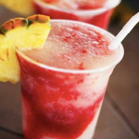Recipe for Lava Flow Mocktails - These are usually made with alcohol at the fancy-pants hotels, but I don't drink, so we're going virgin on this!