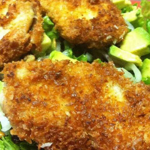 Recipe for Coconut Crispy Chicken Salad - One of my favorite things to eat has always been Crispy Chicken Salad – I mean salad is always healthy right? It was healthy and delicious!