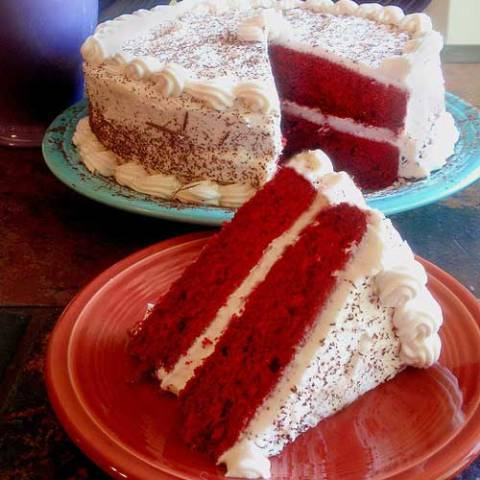 Recipe for Red Velvet Cake - Moist and luscious, classic red velvet cake is as delightful to behold as it is to eat!