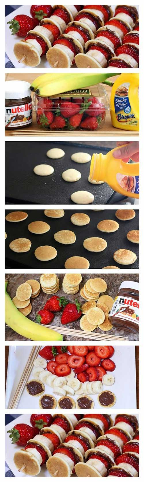 These Nutella Mini Pancake Kabobs are soft and pillowy pancakes slathered with Nutella and layered on skewers with fresh strawberries and banana. #nutella #pancakes #breakfast