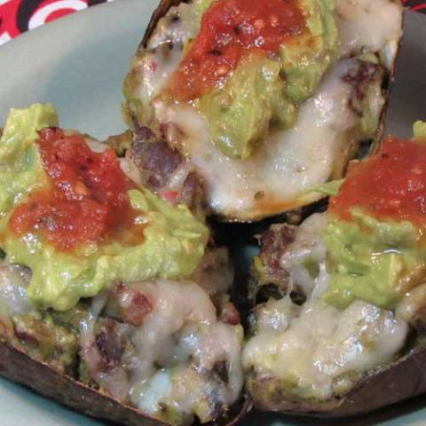 Recipe for Avocado Steak Boats - A hand held single serving of melt in your mouth happiness!