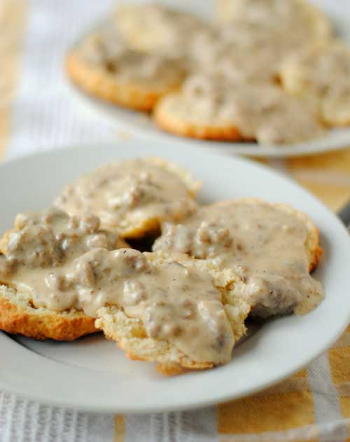 Recipe for Peppered Sausage Gravy and Biscuits - The savory sausage gravy and flaky biscuits I made were just glorious. The gravy is spicy and silky and has that meaty, savory heft to it that you want out of such a breakfast.