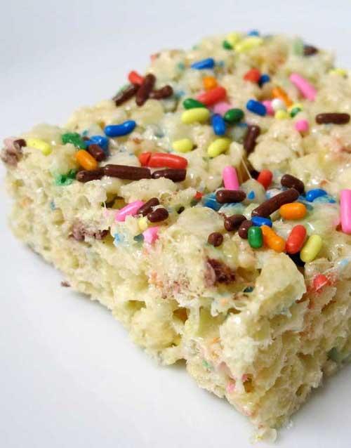 Cake Batter Rice Krispie Treats