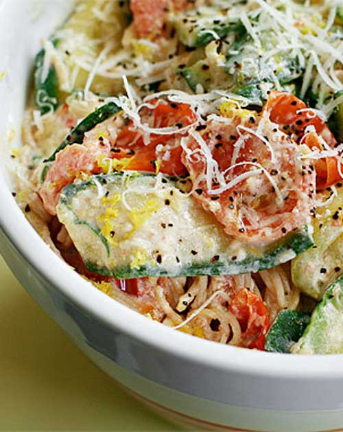Pasta with Zucchini Tomatoes and Creamy Lemon Yogurt Sauce