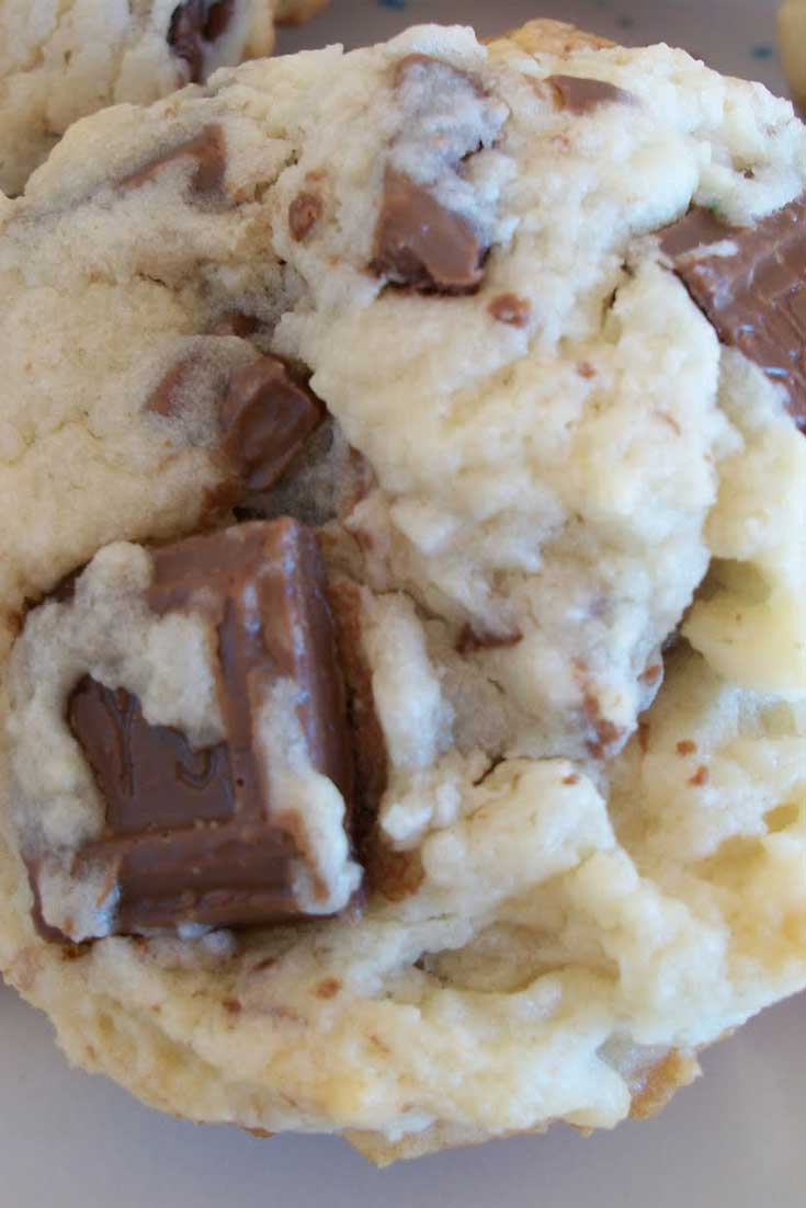 So soft, so chocolatey, SO DELICIOUS! When I crave cookies...it is THESE Cream Cheese Hershey Bar Cookies! #cookies #candy #creamcheese