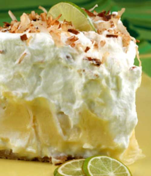 This Florida Pie is essentially a traditional key lime pie lined with a layer of coconut cream. It is brilliant because that layer of sweet creaminess really balances out the tartness of the Key lime filling.