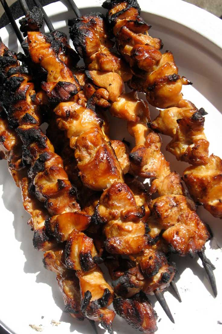 Savory skewers of honey and beer glazed chicken flavor-packed, juicy and tender.. go for the thigh meat and you'll be convinced! #bbq #chicken #grilling