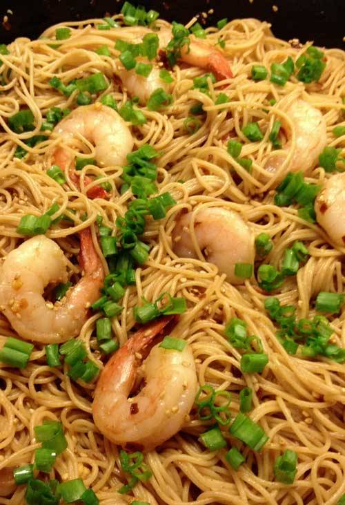 These Sesame Asian Noodles are good hot or cold, dinner or a side dish with a picnic. I added shrimp but you can omit it and then it's vegan.