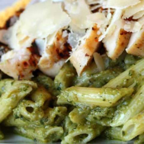Recipe for Avocado Penne Pesto with Grilled Chicken - There were rave reviews all around! The avocado brings a creaminess and delicious flavor to the sauce and may even be better than traditional pesto!