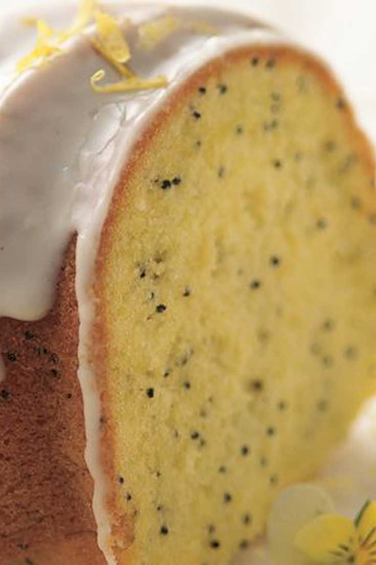 The secret to moist, flavorful lemon-poppy seed cake is to start with lemon cake mix! Let your microwave speed your way to an easy lemon glaze. #lemon #poppyseed #cake #dessert