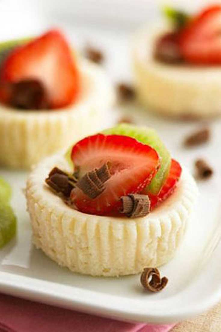 We gave this recipe for mini cheesecakes a healthy makeover to make these creamy, dreamy morsels guilt-free. Enjoy! #cheesecake #dessert #guiltfree