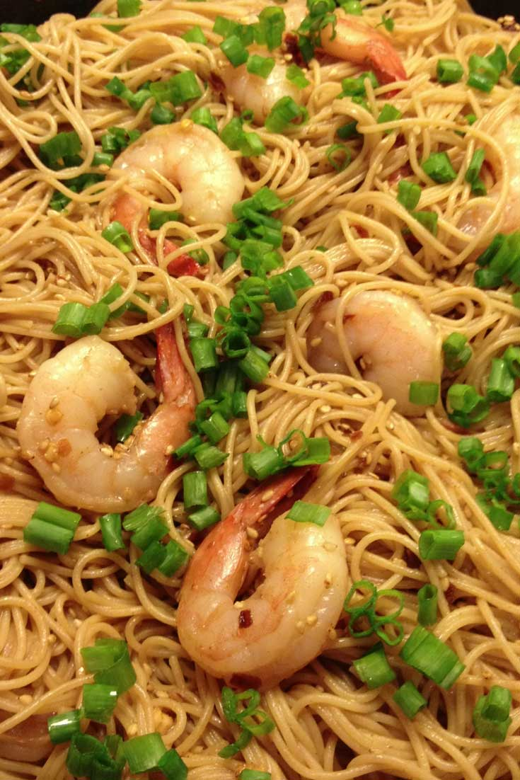 TheseSesame Asian Noodles are good hot or cold, dinner or a side dish with a picnic. I added shrimp but you can omit it and then it's vegan. #Asian #noodles #dinnerideas