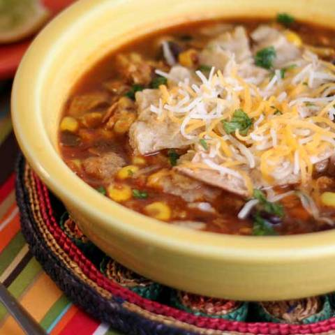 Recipe for Healthy Chicken Tortilla Soup - This chicken tortilla soup recipe matches the goodness of the tortilla soups found in Mexican restaurants. Very flavorful but not too spicy.