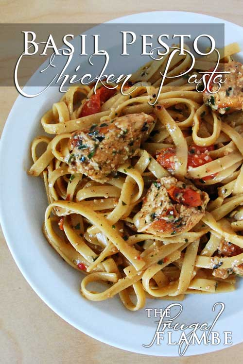 Recipe for Basil Pesto Chicken Pasta - In the time it takes to boil pasta, you too can make this mouth-watering dish for dinner!