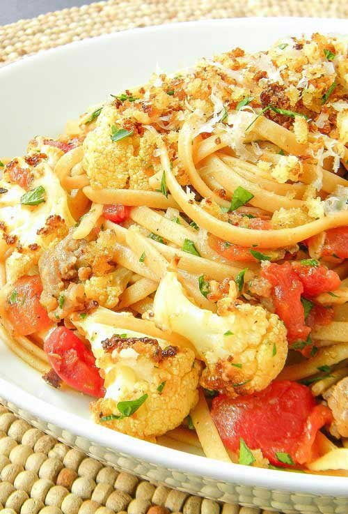 Recipe for Roasted Cauliflower and Sausage Linguini - A hearty, but not too heavy, meal that is sure to please everyone in the family.