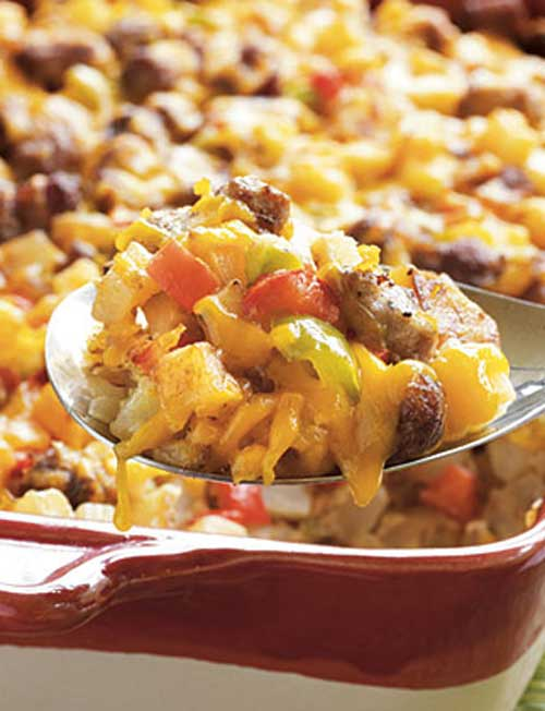 This dish makes a very hearty breakfast, and easily feeds a large family or group. Fortunately, it is also easy to halve this recipe