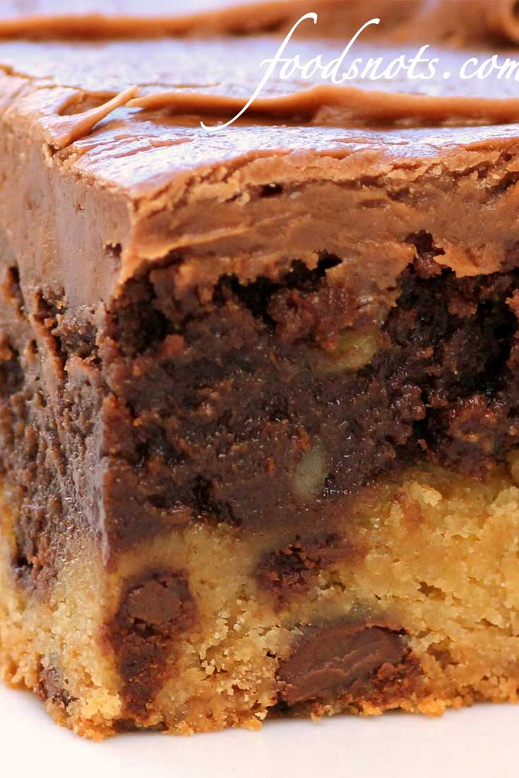 Oh my gosh!! Really? Chocolate chip cookie, brownie, and chocolate frosting!! These Frosted Cookie Brownies had my mouth watering just looking at the picture! #chocolate #brownies #cookies #dessertbars #dessert