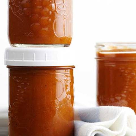 Recipe for Spiced Pumpkin Butter - Savor pumpkin even after the season — this canning recipe combines sweet pumpkin puree and maple syrup with tangy lemon juice and ground ginger.