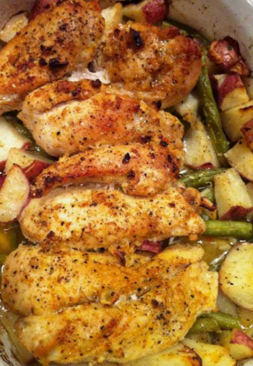 Lemon and Garlic Chicken with Roasted Potatoes and Green Beans