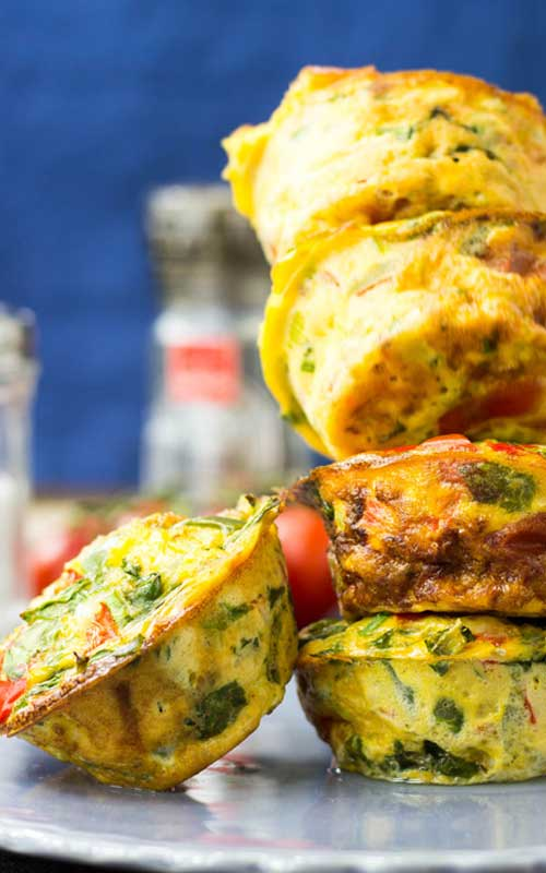 These Low Carb Breakfast Egg Muffins taste like an omelette, look like a muffin and are packed full of protein and delicious veggies. The perfect breakfast!