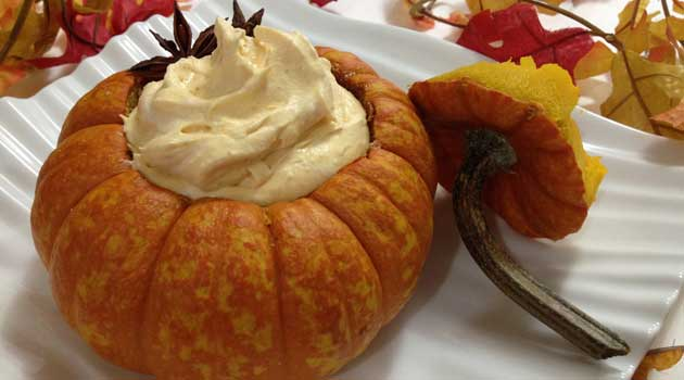 Recipe for Heavenly Pumpkin Mousse - The spicy-sweet flavors of pumpkin pie are whipped to velvety, airy perfection in this five-star treat.