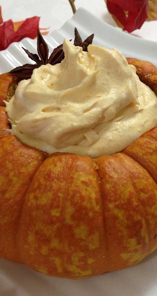 The spicy-sweet flavors of pumpkin pie are whipped to velvety, airy perfection in this five-star treat.