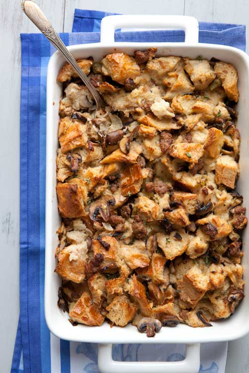My mother-in-law was famous for this recipe, her wonderful Herbed Mushroom and Sausage Stuffing, which we always looked forward to at holiday time.