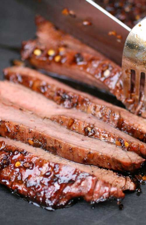Recipe for Soy-Glazed Flank Steak - This steak turned out just great -- thin, tender slices of sweet, smoky meat-- punched up by sock-'em Asian flavors that really amp up the wow-factor.