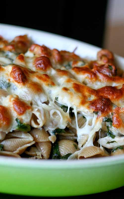 Baked Chicken & Spinach Pasta