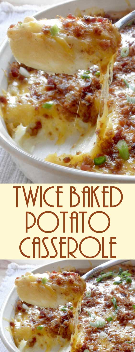 Potatoes, sour cream, cheddar cheese, bacon and green onion – all the goodies we love to indulge in, baked into one delicious Twice Baked Potato Casserole!