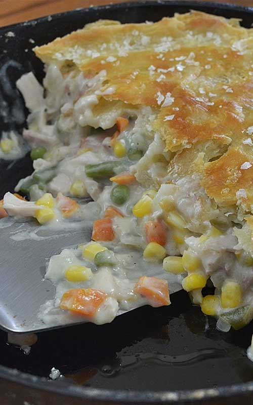 I don't know why pot pie tastes so much better in an iron skillet than in a pie pan, but it does. And you'll be amazed how easy thisLeftover Turkey Cast Iron Skillet Pot Pie is, how fast it cooks up and comes together!