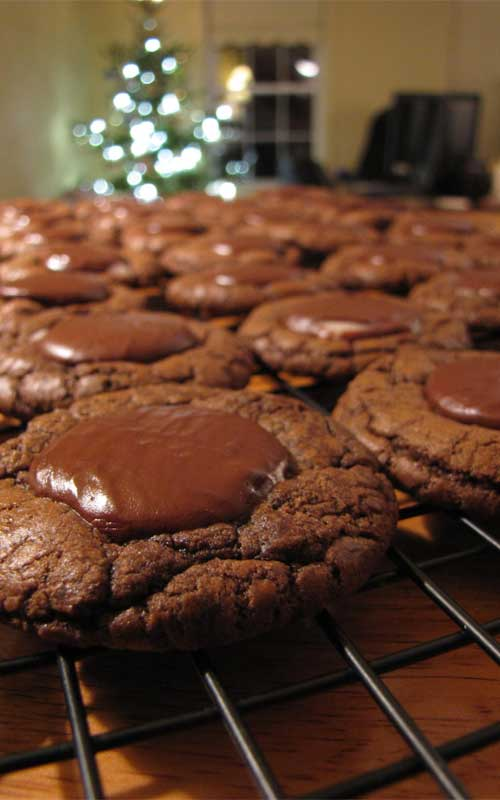 Recipe for Chocolate Mint Candy Cookies - Cool mint and rich chocolate make a delicious cookie combo - perfect for a dessert.