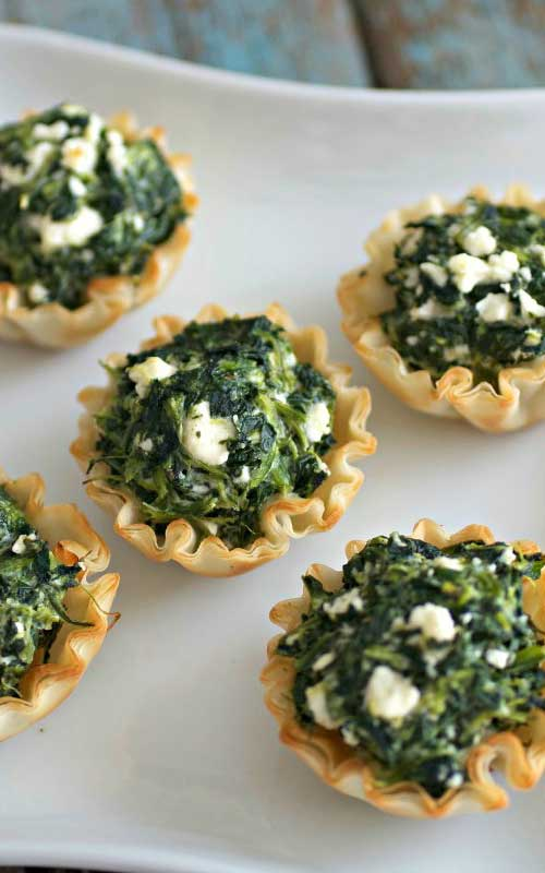 Recipe for Easy Mini Spanakopita - The easiest and most perfect appetizer for your next gathering, party, or as game-day eats for the Big Game!