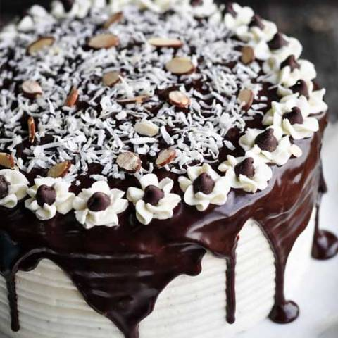 Recipe for Almond Joy Cake - If you like Almond Joy candy bars (like I do) then you will love this cake. Coconut haters look away. Look away now. This is not the cake for you.