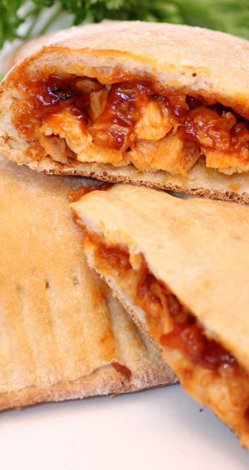 Recipe for Barbecue Chicken Calzones - I love how quick and easy this is and it only requires a few ingredients to make the ultimate BBQ chicken sandwich.