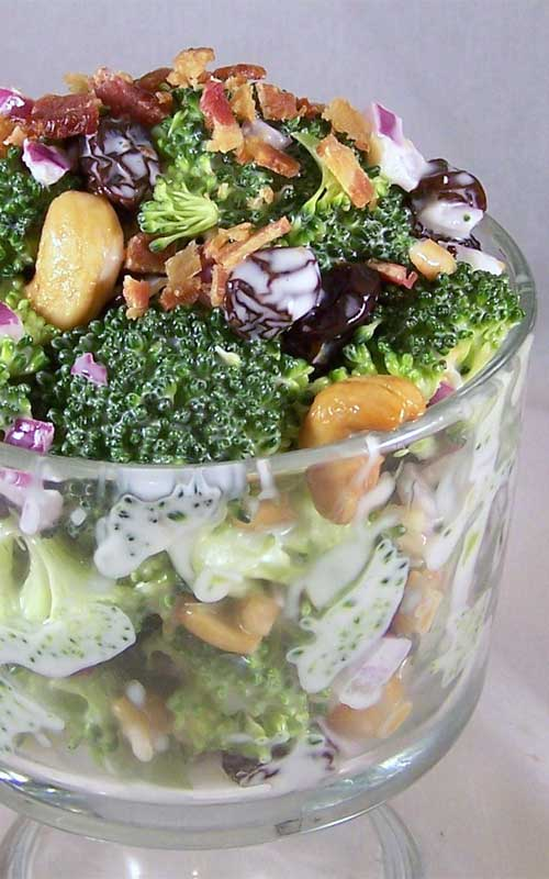 I do not usually enjoy raw broccoli, but I can eat this Broccoli Salad by the bowl full! Even the kids love it!