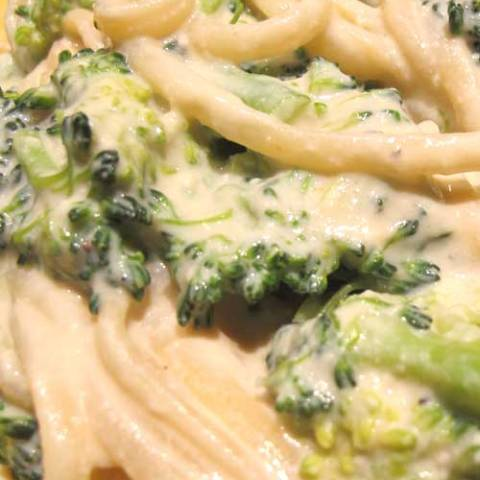 Recipe for Slow-Cooker Chicken Fettuccine Alfredo - Here is a super easy, no-fuss recipe for a creamy, delicious chicken and broccoli fettuccine Alfredo.