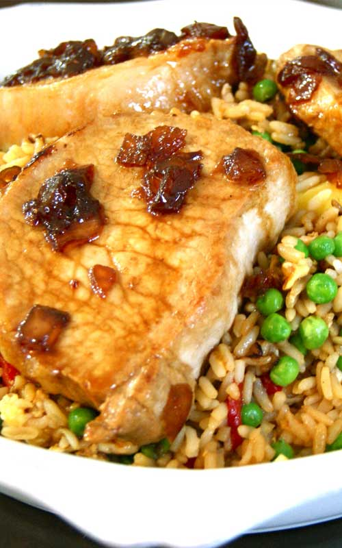 These Sweet Soy Glazed Pork Chops with Pineapple Fried Rice - are a great mix of salty and sweet and a delicious Asian-inspired twist on classic pork chops.