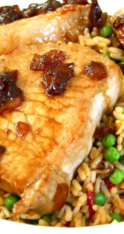 It's a great mix of salty and sweet and a delicious Asian-inspired twist on classic pork chops. #porkchops #asianfood #rice