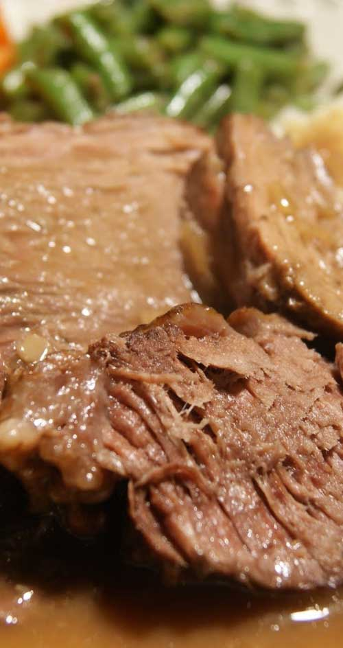 Recipe for Slow Cooker Pot Roast - Get a head start on dinner with this fresh take on a slow- simmered, all-in-one meal that makes clean-up a breeze. #beef #slowcooker #dinnerideas