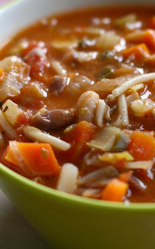 This Winter Minestrone Soup really can be made in less than an hour and tastes like it simmered all day. Minestrone lends itself to variations, so improvise with the ingredients that you have on hand.