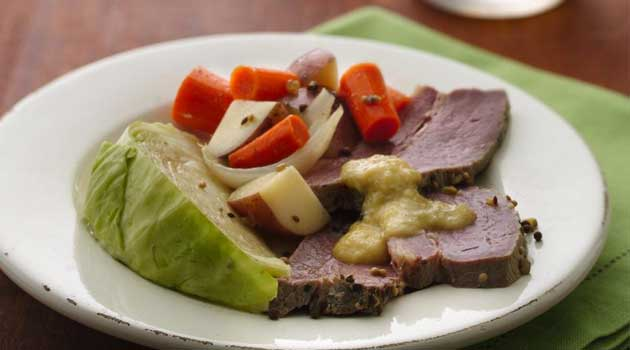 Recipe for Slow-Cooker Corned Beef and Cabbage - You have the luck of the Irish on your side when you rely on your slow cooker! The perfectly seasoned corned beef turns out tender every time.