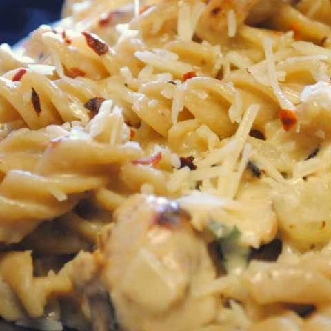 The sauce is a simple cheese sauce, similar to any macaroni and cheese recipe. Add some chicken and you'll have a great White Cheddar Chicken Pasta in just a few minutes.