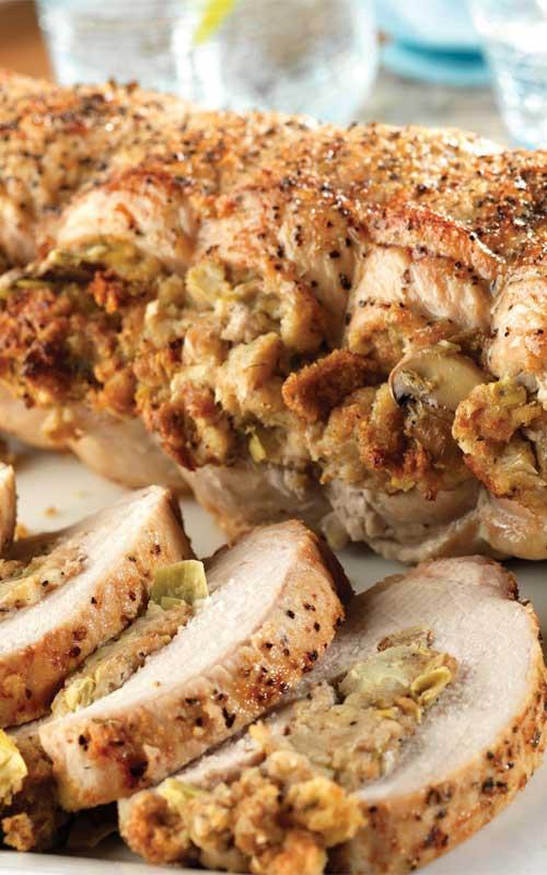 Pork Roast with Herbed Artichoke and Mushroom Stuffing
