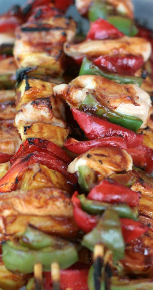 Brush on a delicious sauce and grill up these tasty Sweet BBQ Chicken Kabobs in just minutes. #bbqrecipe #bbqchicken #grilledchicken #chickenrecipe