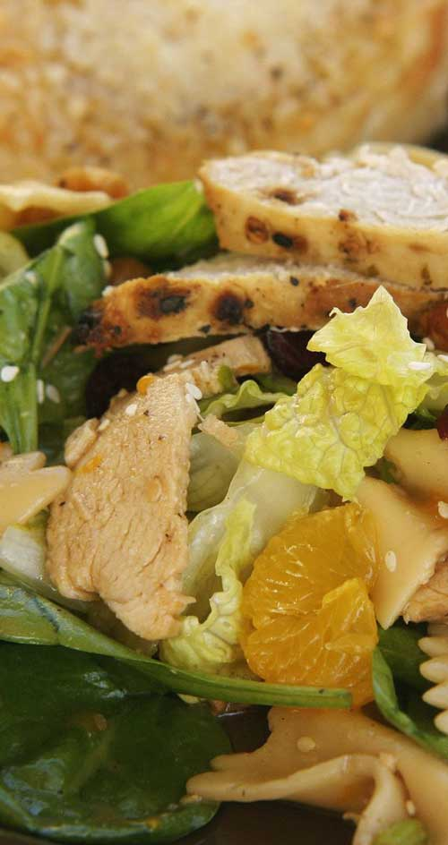Your next BBQ cries out for this Bowtie Chicken Salad! It's easy, with few ingredients and has both sweet and savory elements and textures. #chickensalad #chickenrecipe #bbqdish