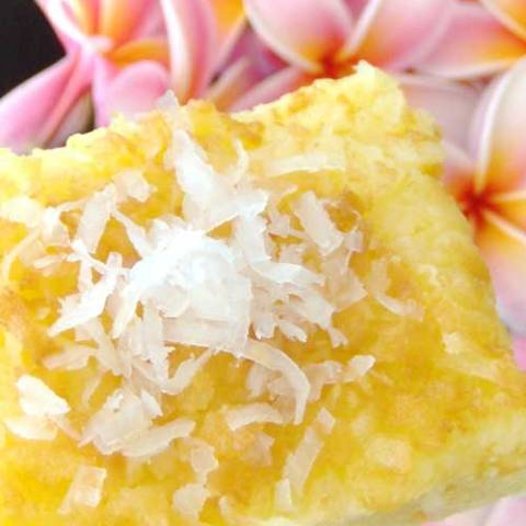Recipe for Coconut Butter Mochi - Savor a taste of the Hawaiian islands with this scrumptious Coconut Mochi Cake which just happens to be gluten free. It's a fantastic treat for any tropical themed party!