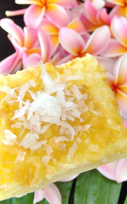 Savor a taste of the Hawaiian islands with this scrumptious Coconut Mochi Cake which just happens to be gluten free. It's a fantastic treat for any tropical themed party!