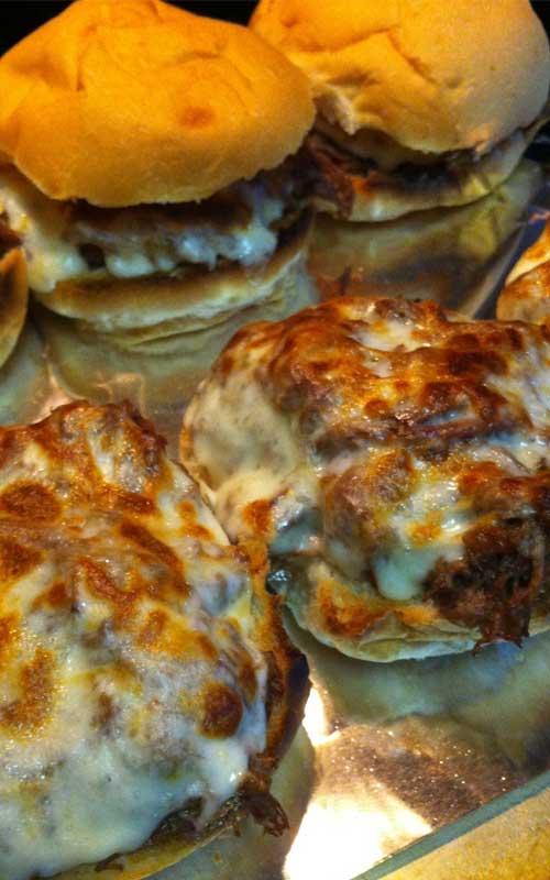 Slow Cooker Cheesy Italian Shredded Beef Sandwiches