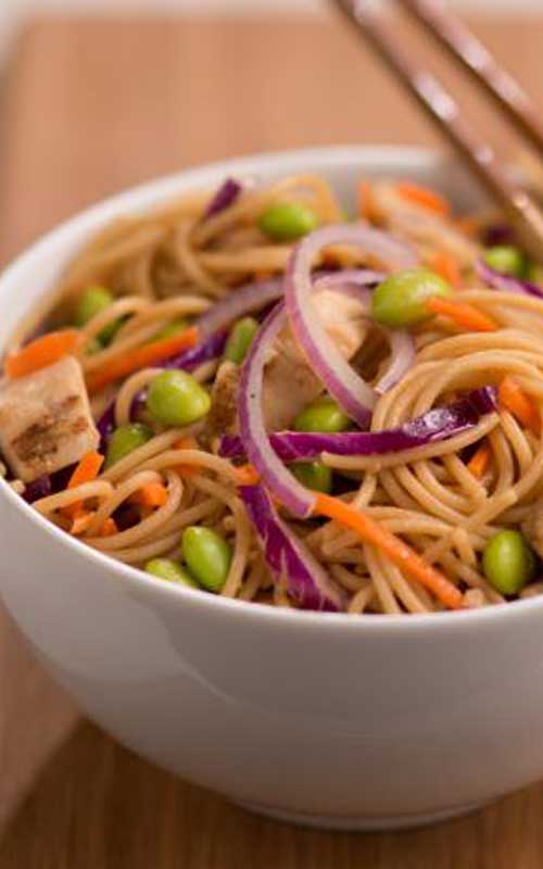 Recipe for Sesame Asian Noodle Chicken Salad - A refreshing light pasta salad with a delicious Asian flair. Great for a summer cookout or picnic.